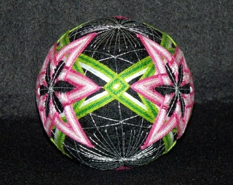 "Large 5-1/2""  Four Star Pattern Japanese Temari Ball-Japanese Ball Art-String Art-Hand Stitched-Home Decor-OFG Team"