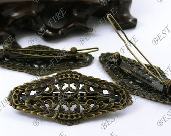10pcs of Antique Brass popular bobby pins flower filigree pad,tuck comb findings