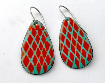 Red And Blue Enamel Earrings, Everyday Earrings, Simple Earrings, Handmade Earrings, Dangle Earrings, Colorful earrings, Boho Earrings
