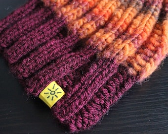 Knitted Bobble Hat - Hand-knit in three colours. Autumnal.