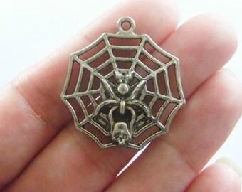 BULK 20 Huge spider in a spider web pendants antique silver tone HC127