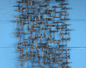 Wall Sculpture in the style of Nail Art, Mid Century, Brutalist.
