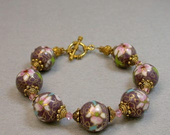 Vintage Chinese PURPLE Cloisonne Bead Pink Flowers Bracelet, Swarovski Pink Crystal, Gold Bead Caps - GIFT WRAPPED