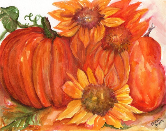 Sunflowers pumpkin pear watercolor painting original 7 x 10 Flower painted pumpkins