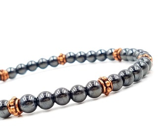 Hematite Bracelet or Anklet || Homeopathy || Natural Pain Management || Magnetic Therapy and Copper Super High Power || Arthritis Support