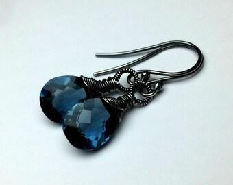 Quartz Earrings Sterling Silver 925, Oxidized Blue Gemstone Earrings Quartz jewelry Handmade Wire Wrapped Jewelry Small Blue Dangle Earrings