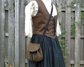 Renaissance Purse, Medieval Bag, Cross Body - Choose Your Color - Faux Suede or Linen Fabric
