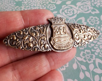 Rare 1890's Terneuzen Souvenir Silver Brooch - Dutch Holland City Brooch - Statement 8cm long - C clasp and tube hinge