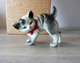 Vintage Playful Cat Porcelain Figurine