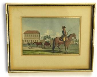 Antique Soldier on Horseback Military Art. Military Portrait Painting. Gouache on Paper. Antique Militaria.