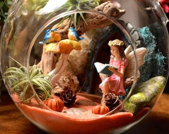 """Enchanted Fairy Garden Terrarium Kit ~ 7"""" Air Plant Terrarium Kit ~ Miniature Garden ~ Fairy Door ~ Bluebirds on Birdbath ~ Reading Fairy"""