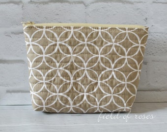 Modern Quilted Zipper Cosmetic Pouch Bag