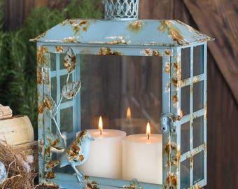Blue Rustic Songbird Lantern