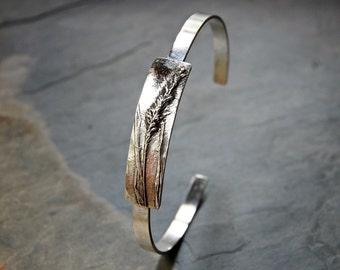 Foxtail Grass Bracelet, Botanical Bracelet, Plant Bracelet, Nature Bracelet, Thin Cuff Bracelet, Sterling Bracelet, Silver Cuff,