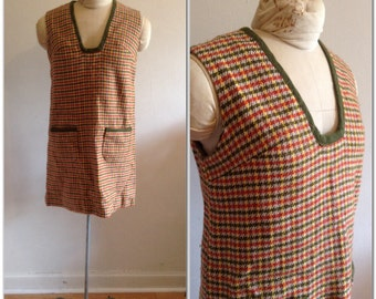 Sixties vintage houndstooth mini dress // extra small, small 2 4 6 mod Twiggy shift fall colors 1960
