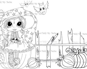 INSTANT DOWNLOAD Digi Stamps Big Eye Big Head Dolls Digi Bestie Boo Kitty By Sherri Baldy