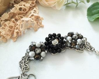 Vintage Earring Bracelet , Black Gray Cluster Bracelet  , Boho Vintage Bracelet , Reclaimed Recycled Vintage Jewelry by VintageRedo
