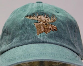 MOOSE HAT - One Embroidered Wildlife Cap - Price Embroidery Apparel - 24 Color Caps Available