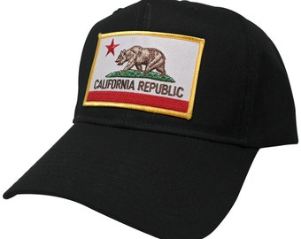 California Embroidered Iron On Patch Snapback Cap - Black Cali Bear