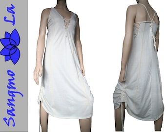 Summerdress hippiedress psy goa clothing long cutout nature offwhite festival tribe