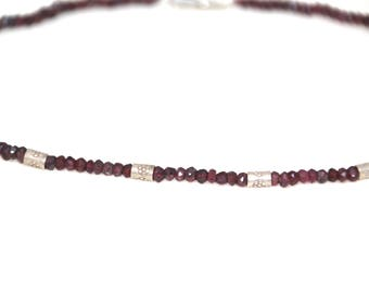 Garnet and Silver Beaded Choker, Red and Silver, Silver Bali Beads, Sterling Silver Clasp