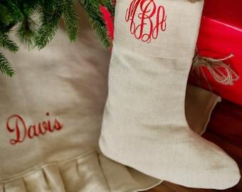 Classic Jute Monogrammed Christmas Stockings - Family Stockings - Christmas Stocking Personalized -  Personalized Stocking - Holiday Decor
