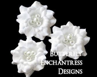 White Wedding Hair Flowers, Bridal Hair Accessories, Beach Wedding - 3 Pure White Mini Gardenia Bobby Hair Pins - Pearl Crystal Cluster