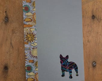 French Bulldog Doggy Tales Notebook in Liberty London Art Fabric