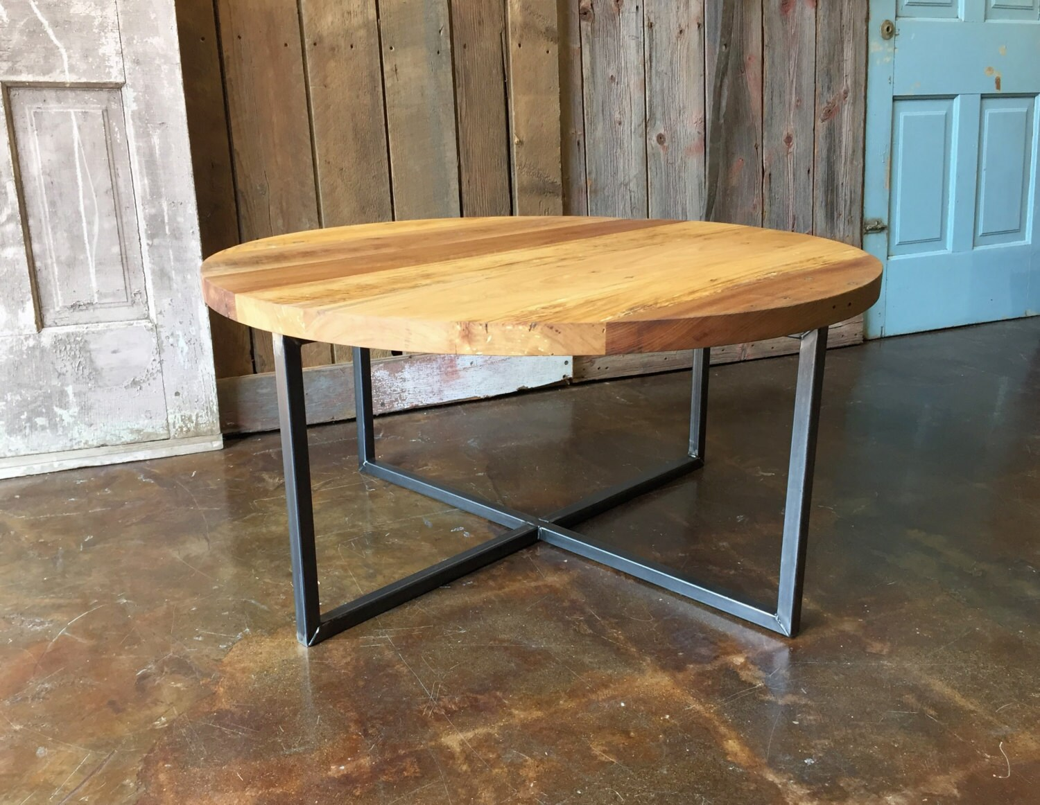 Round Modern Coffee Table / Reclaimed Wood Metal Base Coffee