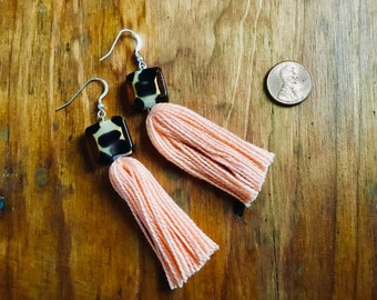 Leopard and Peach Tassel Earrings