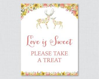 Love is Sweet Sign for Woodland Bridal Shower - Printable Floral Deer Shower Favor Table Sign - Love is Sweet Take a Treat Sign 0022