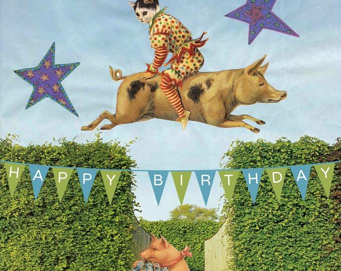 Flying Pig Happy Birthday banner