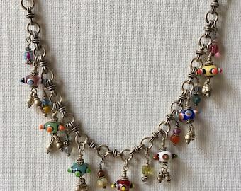 Charm Necklace, Silver Charm Necklace, Czech Glass Necklace, Artisan Necklace, Statement Necklace, Boho Necklace, Boho Jewelry