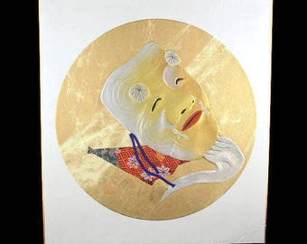 """Okina Noh Mask Shikishi Board Silk Collage/ Mixed Media """"Selro Devil"""" handmade Picture /Signed Japanese Noh Old Man Face Shikishi Repoussed"""