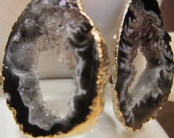 Starry Night Geode Druzy Earring Black, Grey /Gold Plated