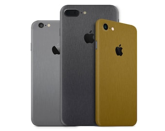 Brushed Metal Phone Skin Wrap Decal for the iPhone 7, 7 Plus, 6, 6s Plus, 5/5s/5c/SE & 4 in Multiple Colors