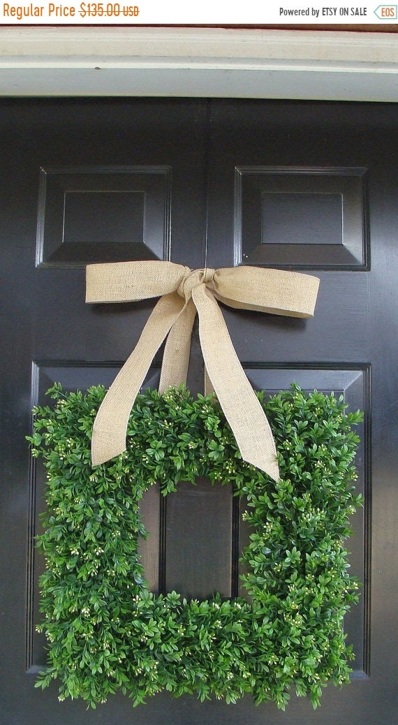 SPRING WREATH SALE Spring Wreath- Wedding Wreath- Artificial Boxwood Wreath with Burlap Bow- Square Wreath- Holiday Wreath Decor- 24 Inch