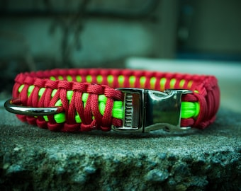 Paracord Dog Collar - Neon Green & Red
