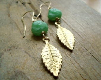 Green Flower and Brass Leaf Earrings Vintage Glass Gold Fall Fashion Nature Inspired Vintage Style Leaf Jewelry Gifts Under 30 Woodland
