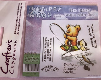 Mulberry Wood Gone Fishing Rubber Stamp Set