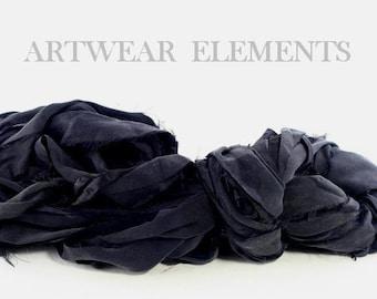 Pure Chiffon Sari Silk, Black Chiffon, Fair Trade, 5 Yards, Silk Ribbon, Silk Textile, Fabric Yarn, Ribbon, Silk, Artwear Elements, #114
