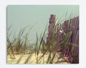 Large photography beach canvas print, coastal wall art canvas, nautical gallery wrap, aqua mint grey beach artwork, green beach grass fence