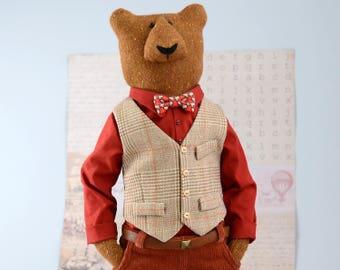 Dressed bear soft sculpture gift for bearded   ,  Hipster animals for nerd gift  , hipster bear , Collectible ooak , spirit bear ,