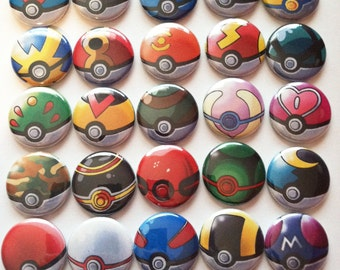 25 Pokeball Buttons or Magnets
