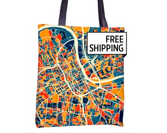 Nashville Map Tote Bag - Tennessee Map Tote Bag 15x15