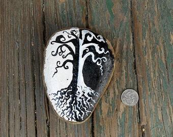 Black and White Tree- Painted Stone/Garden/Art/Home Decor/Book Shelf