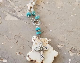 Bohemian Necklace, Boho Jewelry, Gypsy, Rustic Assemblage Necklace, White Turquoise, Religious Medal