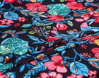 Couture fashion heavy Chiffon Fabric,Chic Floral pattern,smooth,drape sense,Sewing,Dress,nightgown,shirt,skirt,coat,Craft fabric by the yard
