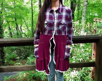 Upcycled Jacket Duster Plaid Flannel Shirt Vintage Trim Oversized Pockets Uneven Hem Burgundy Maroon Size