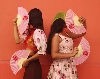 """Cameo Appearance Vintage """"Who Is She?"""" Limited Edition Silk and Bamboo Screen Printed Folding Fan"""